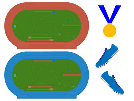 Athletics Field with Running Tracks in Red and Blue Vector