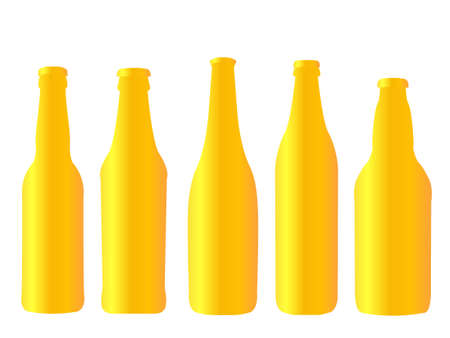 Different Kinds of Golden Beer Bottles Illustration