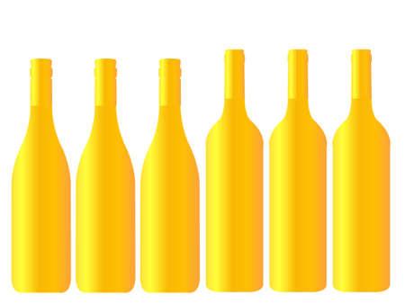 Different Kinds of Golden Wine Bottles Ilustrace