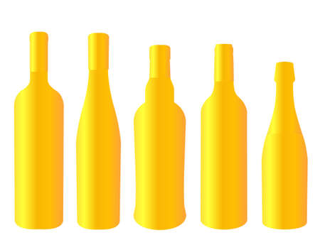 Golden Bottles of Wines of Europe Illustration