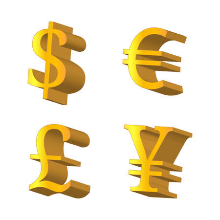 Golden Currencies Symbols Dollar Euro Pound Yen Vector