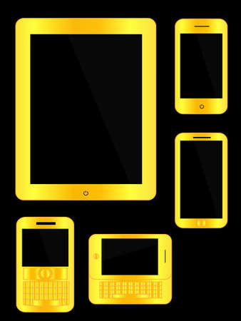 Golden Mobile Devices Stock Vector - 22105923