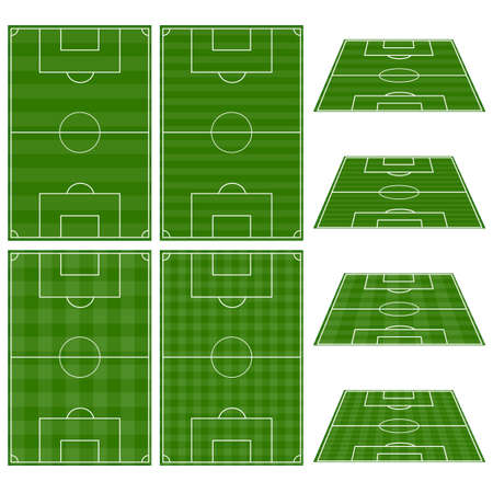 soccer field: Set of Football Fields with Vertical and Horizontal Patterns