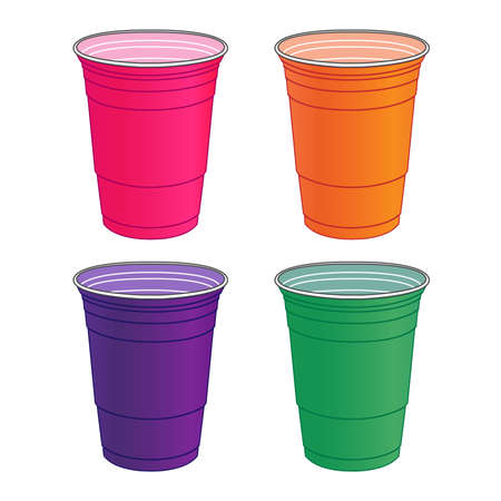 Party Cups In Pastel Colours Illustration
