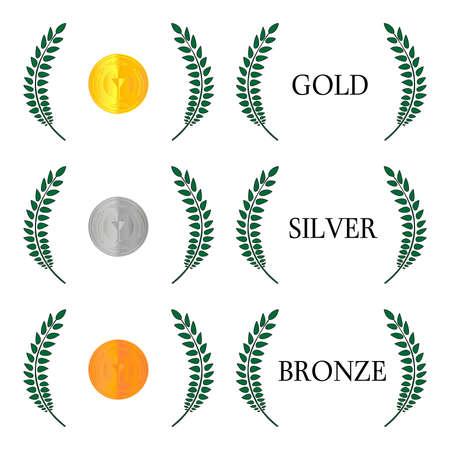 Laurel Wreath Medals 1 Vector