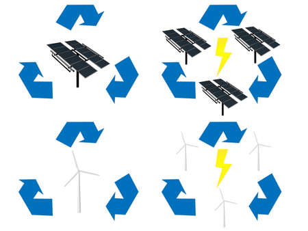 Renewable Energy Signs Icons Wind and Solar Energy Vector
