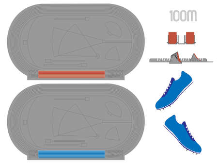 100 Meters Running Track in Red and Blue Vector