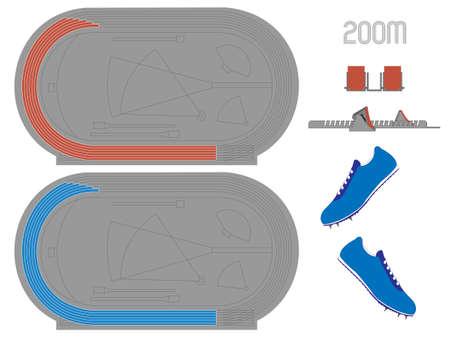 running track: 200 Meters Renbaan in Rood en Blauw