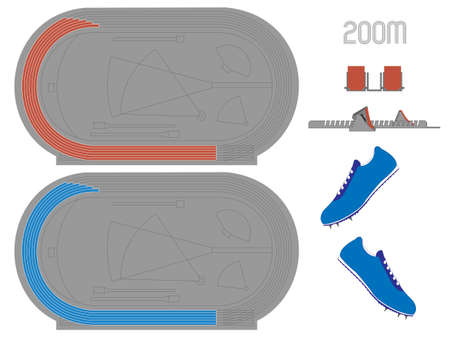 200 Meters Running Track in Red and Blue Vector