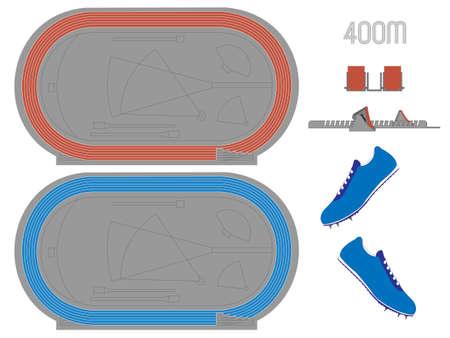 running track: 400 Meters Renbaan in Rood en Blauw Stock Illustratie