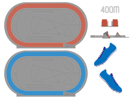 400 Meters Running Track in Red and Blue Vector