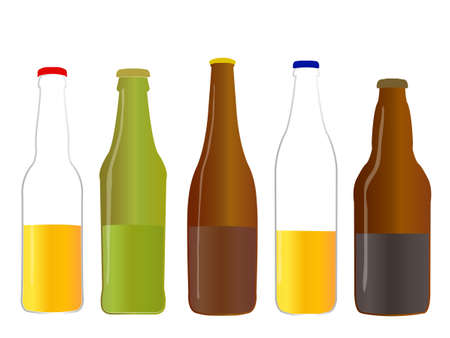 Different Kinds of Beer Half Full Bottles Stock Vector - 22773366