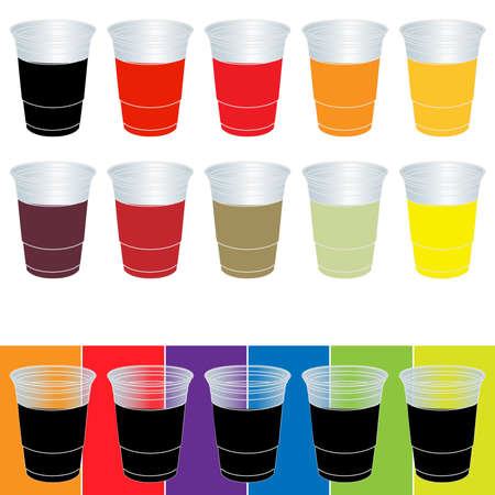 Transparent Cups with Soda Vector