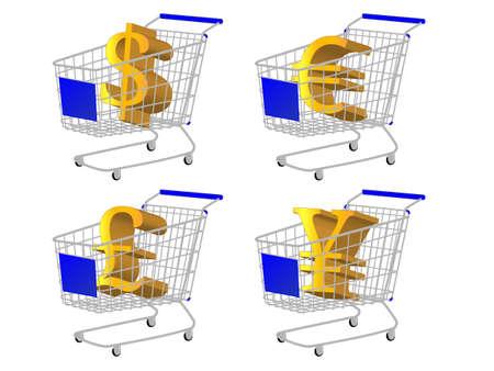 reduced value: Azul Compras con dinero signos Dollar Euro Libra Yen Vectores
