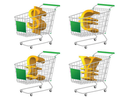 reduced value: Green Shopping Cart with Money Signs  Dollar Euro Pound Yen