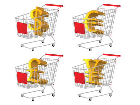 reduced value: Red Shopping Cart with Money Signs  Dollar Euro Pound Yen