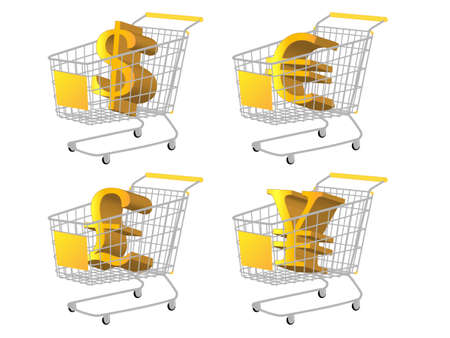 reduced value: Yellow Shopping Cart with Money Signs  Dollar Euro Pound Yen