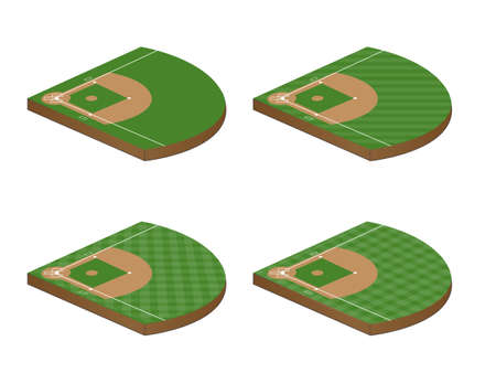 Set of Baseball Fields 3D Perspective 1 Stock Vector - 23644249