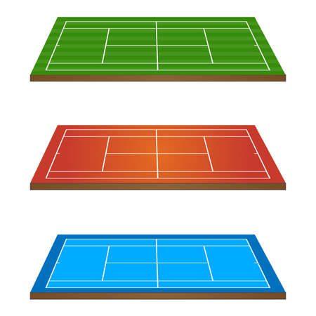 hard court: Set of Tennis Courts 3D Persepctive 1