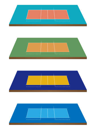 Set of Volleyball Courts in Different Colours 3D Perspective Vector