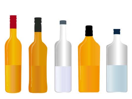 half full: Different Kinds of Spirits Half Full Bottles
