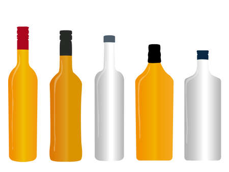Different Kinds of Spirits Empty Bottles Vector