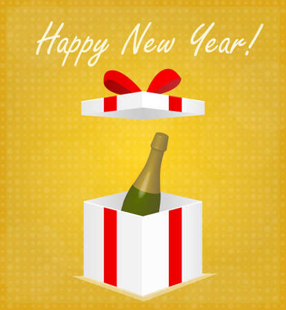 Happy New Year Greeting Card Gift Box with Champagne Golden Background EPS 10 Vector