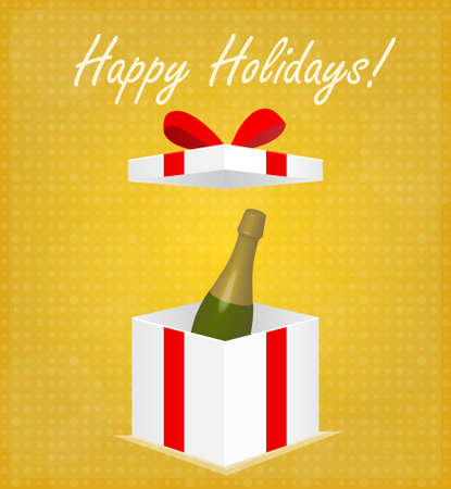 Happy Holidays Greeting Card Gift Box with Champagne Golden Background EPS 10 Vector