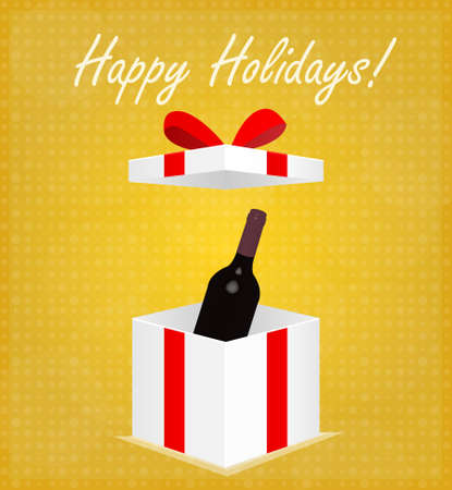 Happy Holidays Greeting Card Gift Box with Wine Golden Background EPS 10 Vector