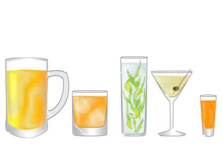 Isolated Drinks Pencil Style Vector