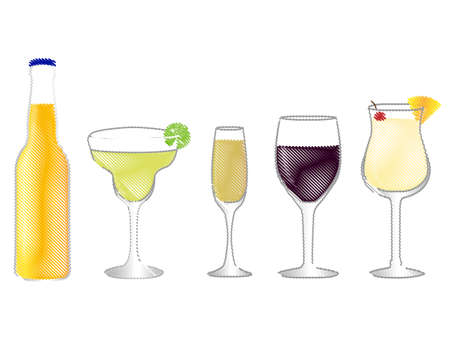Isolated Drinks Pencil Style
