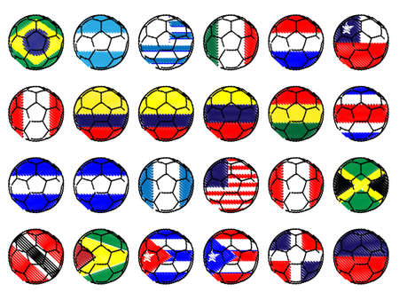 Footballs with Flags of the Americas Pencil Style Illustration