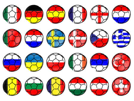 Footballs with Flags of Europe Pencil Style Vector