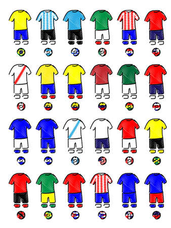 Americas Jerseys Football Kits Pencil Style Vector