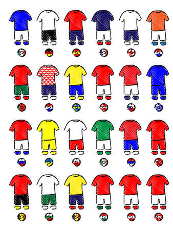 Europe Jerseys Football Kits Pencil Style Illustration
