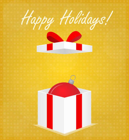 Happy Holidays Greeting Card Gift Box with Bauble Golden Background