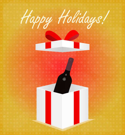Happy Holidays Greeting Card Gift Box with Wine Red    Vector