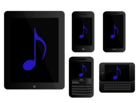 mobile devices: Mobile Devices Music Icons Black