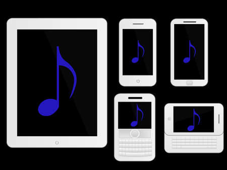 mobile devices: Mobile Devices Music Icons White