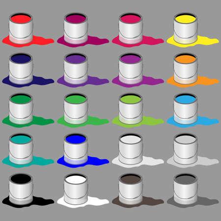 tin: Paint Buckets Illustration