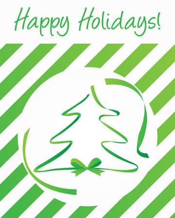 happy holidays card: Happy Holidays Card with Green Ribbon Tree