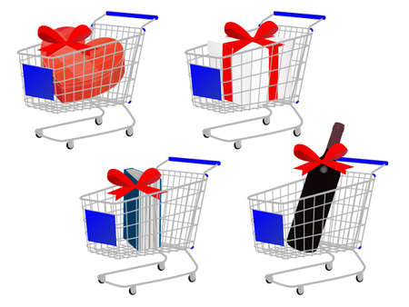 Blue Shopping Cart Gifts With Ribbon Bows