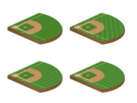 grass field: Set of Baseball Fields 3D Perspective