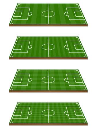 league: Set of Football Fields 3D Perspective  Illustration