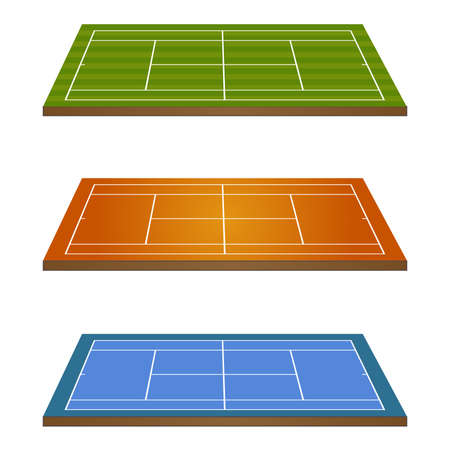 hard court: Set of Tennis Courts 3D Perspective