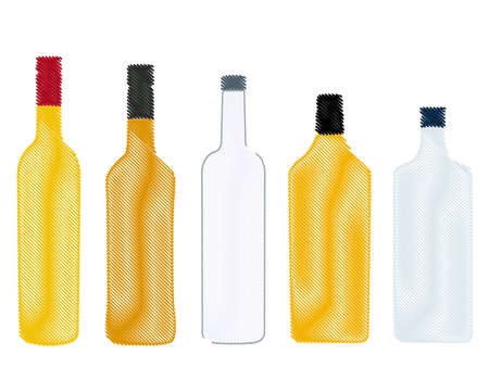 Different Kinds of Spirits Bottles Pencil Style Vector