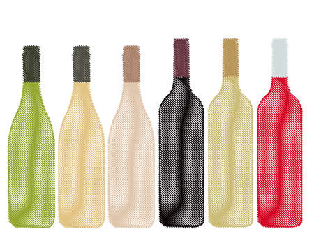 Different Kinds of Wine Bottles Pencil Style