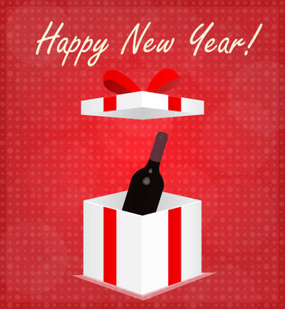 Happy New Year Greeting Card Gift Box with Wine Red Background