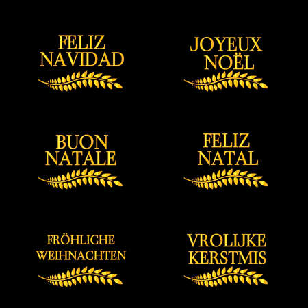 Merry Christmas Laurels in Different Languages  Illustration