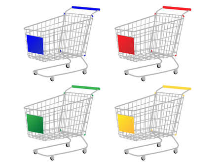 e commerce icon: Shopping Carts in Different Colours Blue Red Green Yellow